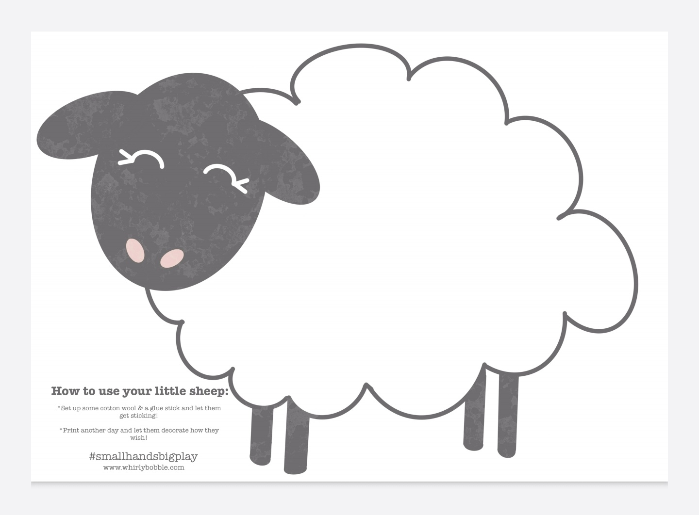 Free sheep printable for toddlers