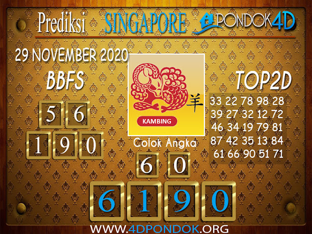 Prediksi Togel SINGAPORE PONDOK4D 29 NOVEMBER 2020