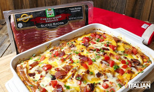 overhead photo of Mexican breakfast casserole in white baking dish