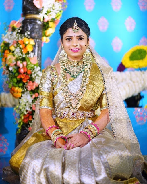 Bride in Large Kundan Guttapusalu Huge Chandbalis
