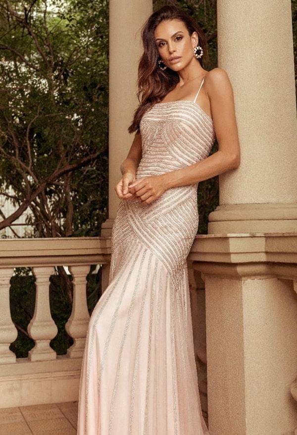 vestido de festa longo rose bordado