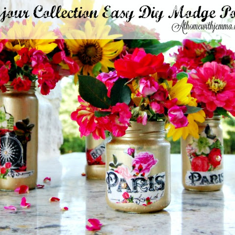 The Bonjour Collection~Easy DIY Modge Podge Vases