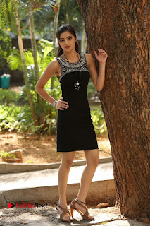 Actress Poojitha Pallavi Naidu Stills in Black Short Dress at Inkenti Nuvve Cheppu Movie Platinum Disc Function  0241.JPG