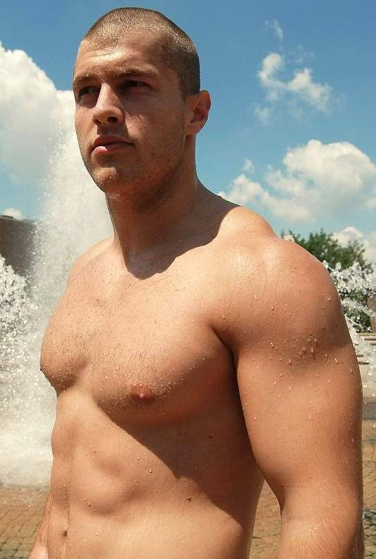 strong-masculine-shirtless-hunk-shaved-head-perky-nips-wet-body