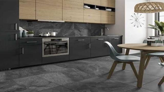 ruang dapur menggunakan lantai batu alam