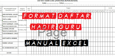 Download Contoh Format Absen Manual Harian Guru Lengkap