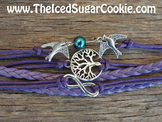 Purple Tree Of Life Infinity Sign Doves Leather Bracelet by The Iced Sugar Cookie