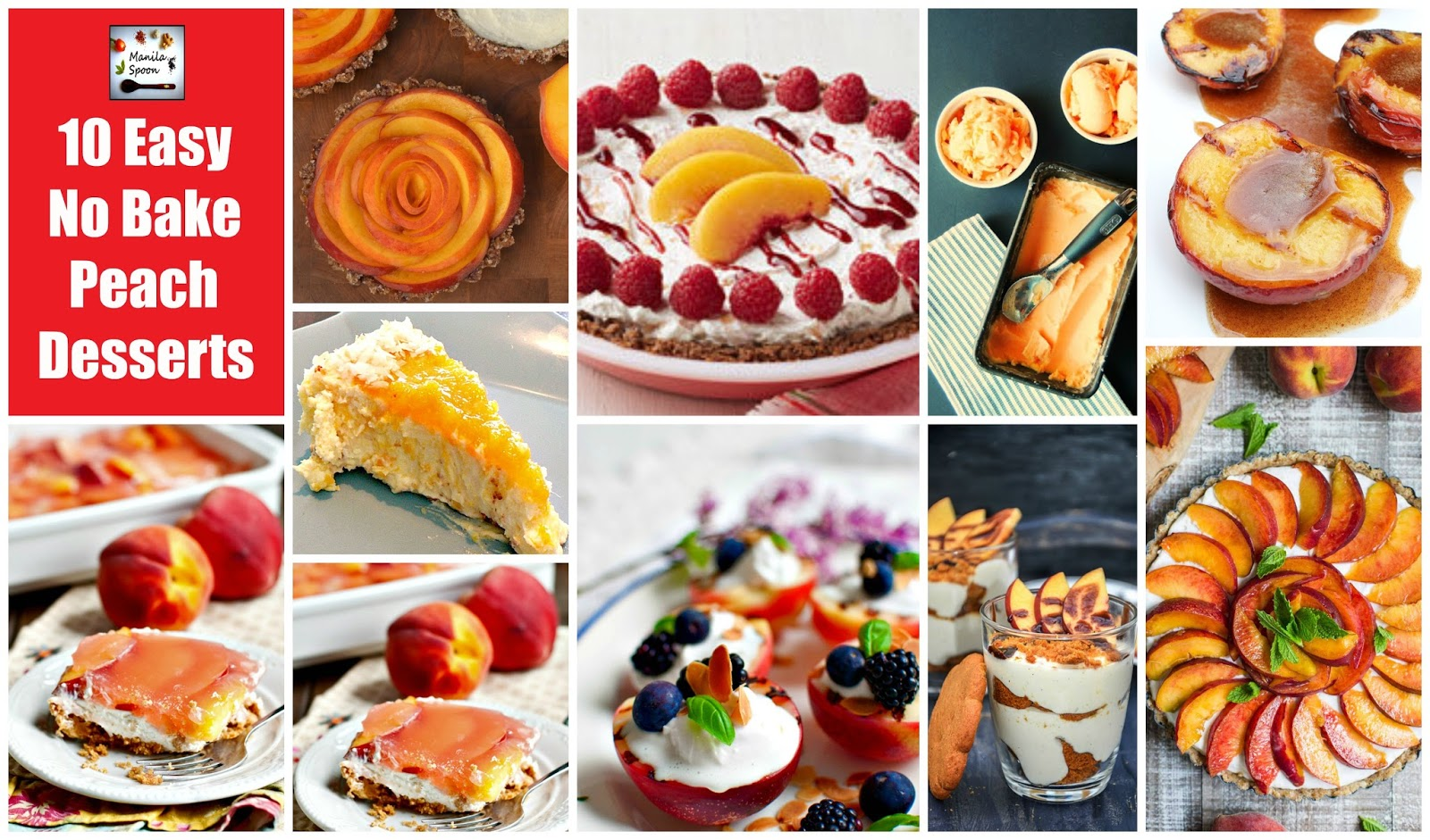 To celebrate peach season, here's a delicious collection of easy NO BAKE Peach desserts!