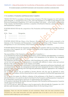 board resolution for constitution of nomination and remuneration committee