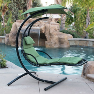 BELLEZZA Arc Stand Style Hanging Chaise Lounger Chair- Green