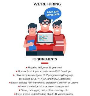 lowongan kerja kali ini ada dari pt aq business consulting indonesia untuk posisi back end developer