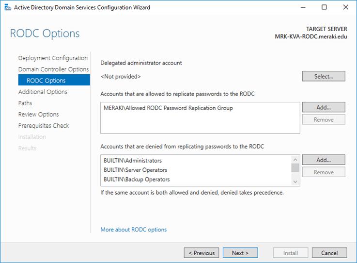 قم بتثبيت Windows Server 2016 RODC