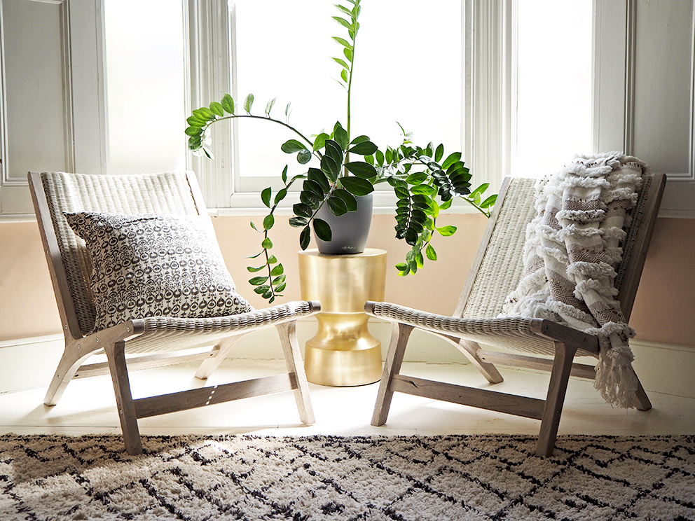 Outdoor Furniture Indoors - French For Pineapple Blog - Wicker and Teak chairs in bay window with plant