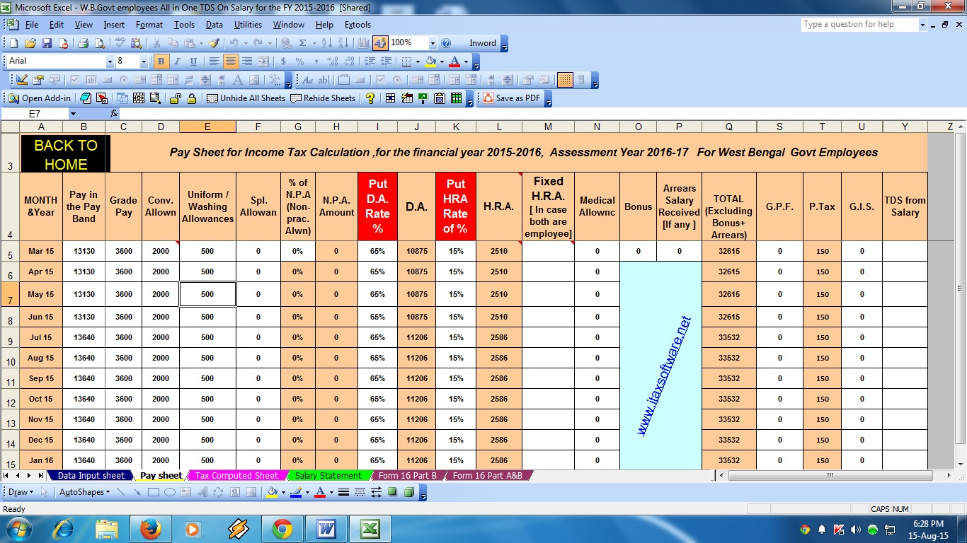 Tax Prepartion Worksheet Excel
