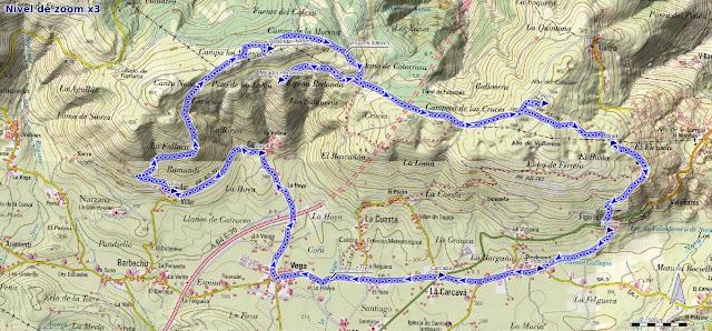 Mapa de la ruta de las cercanías del cielo desde La Vega de Sariego