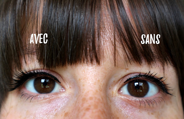 Image montrant la différence entre un oeil avec et un sans les cils magnétiques.
