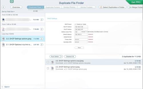 Duplicate finder after scan