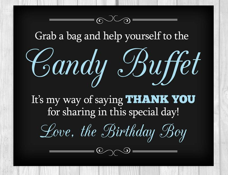 graphic regarding Free Printable Candy Buffet Signs called Birthday Social gathering Sweet Buffet Indicators - Readily available inside Various Hues