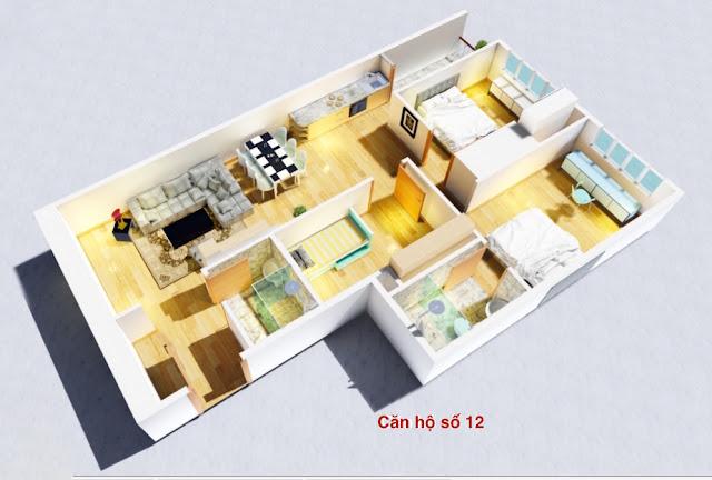 Thiết kế căn hộ số 12 chung cư tháp doanh nhân