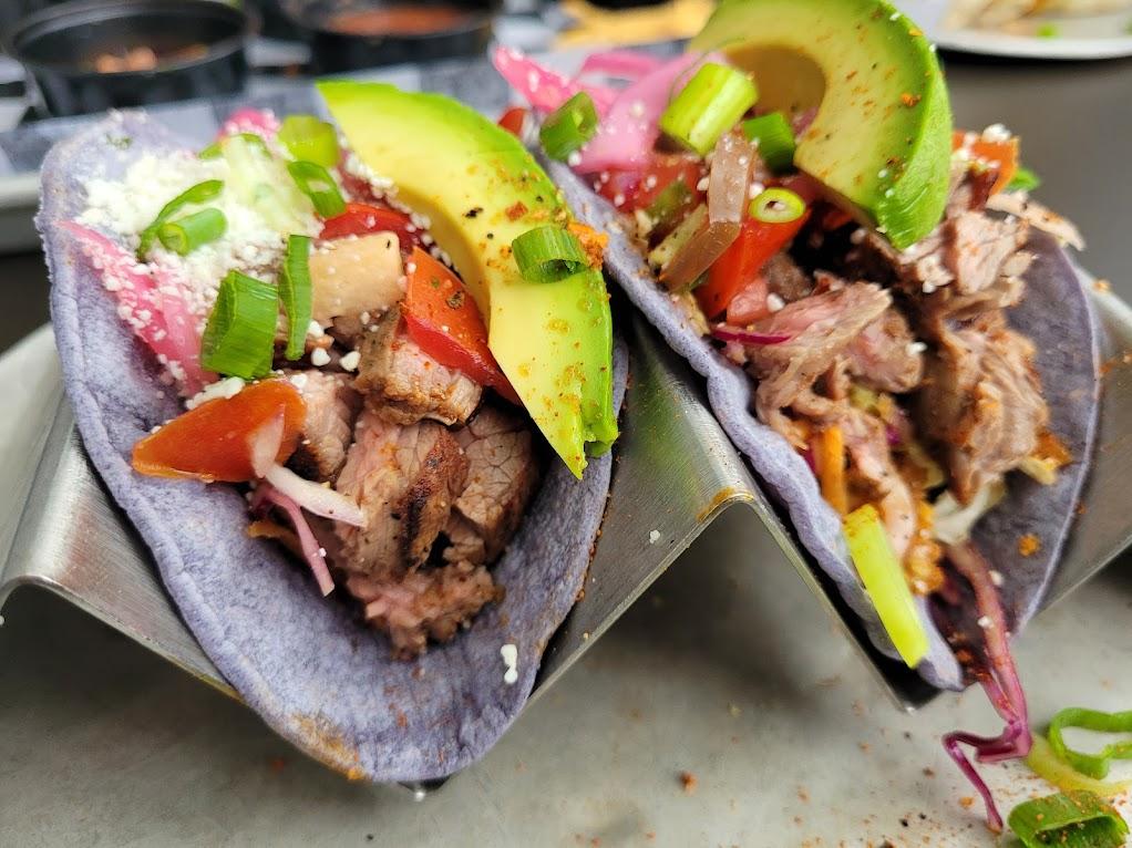 Blue corn tortilla carne asada tacos at Diego's, Newport