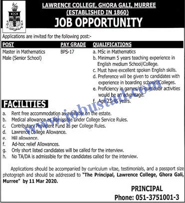 Jobs in Lawrence College Ghora Gali, Murree 2020
