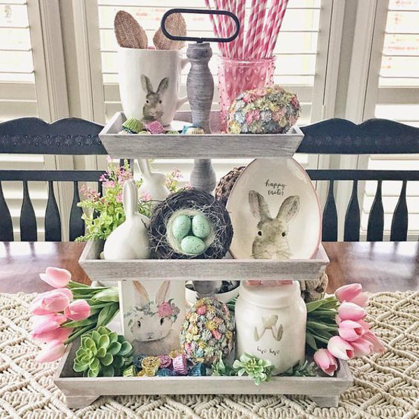 3 tiered wooden tray with Easter decor