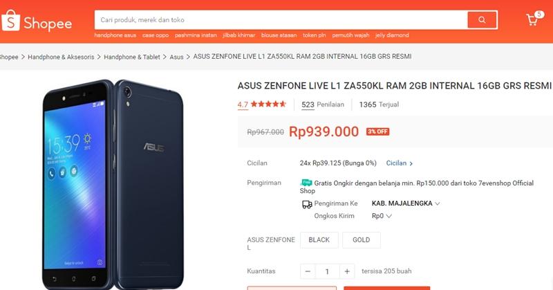 ASUS ZenFone Live L1 di Shopee Turun Harga - Shopee