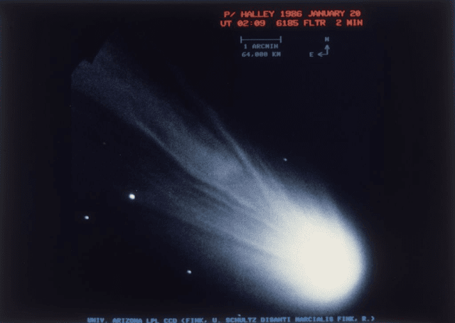 Halley's Comet, 20th January 1986. (Photo by Space Frontiers/Hulton Archive/Getty Images)