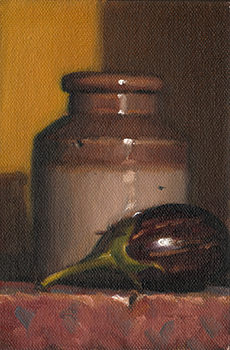 Still life oil painting of a small eggplant beside an earthenware jar.