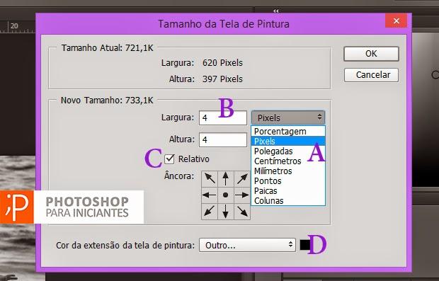 Configurações para a Moldura simples no Photoshop
