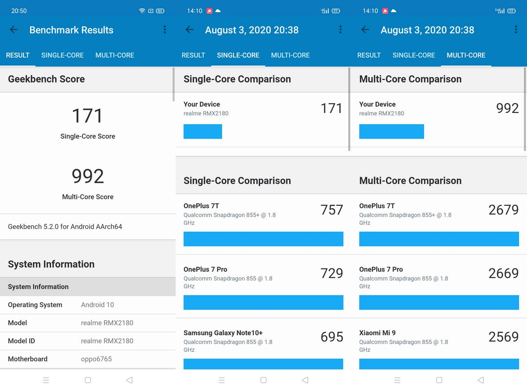 Benchmark Geekbench 5