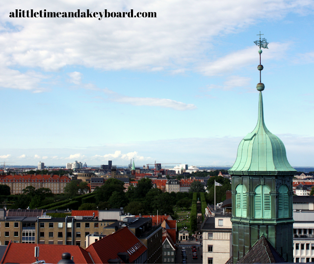 Copenhagen skyline perspective with the spire of Trinitatis Church from Rundetaarn