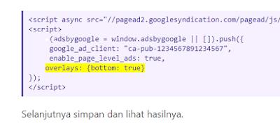 Cara Menonaktifkan Iklan Anchor Google Adsense