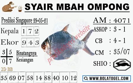 Syair Mbah Ompong SGP Sabtu 29-05-2021
