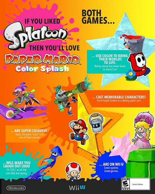Splatoon Paper Mario Color Splash comparison infographic Nintendo