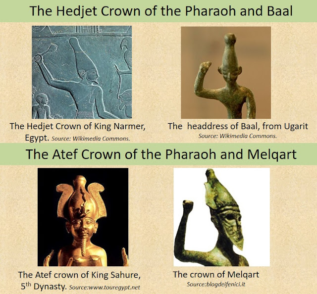 The Hedjet Crown and the Atef Crown of the Egyptian Pharaoh can be seen on Baal and Melqart respectively.