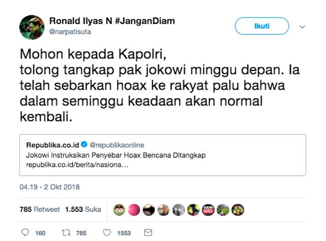 Soal Hoax, Ronald: Mohon kepada Kapolri, Tolong Tangkap Pak Jokowi Minggu Depan