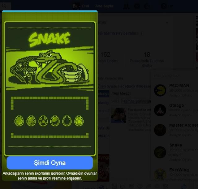Facebook messanger'dan yılan oyunu nasıl oynanır