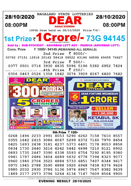 Lottery Sambad 28-10-2020 Today Results 8:00 pm, Nagaland State Lottery Sambad Today Result 8 pm, Sambad Lottery, Lottery Sambad Live Result Today