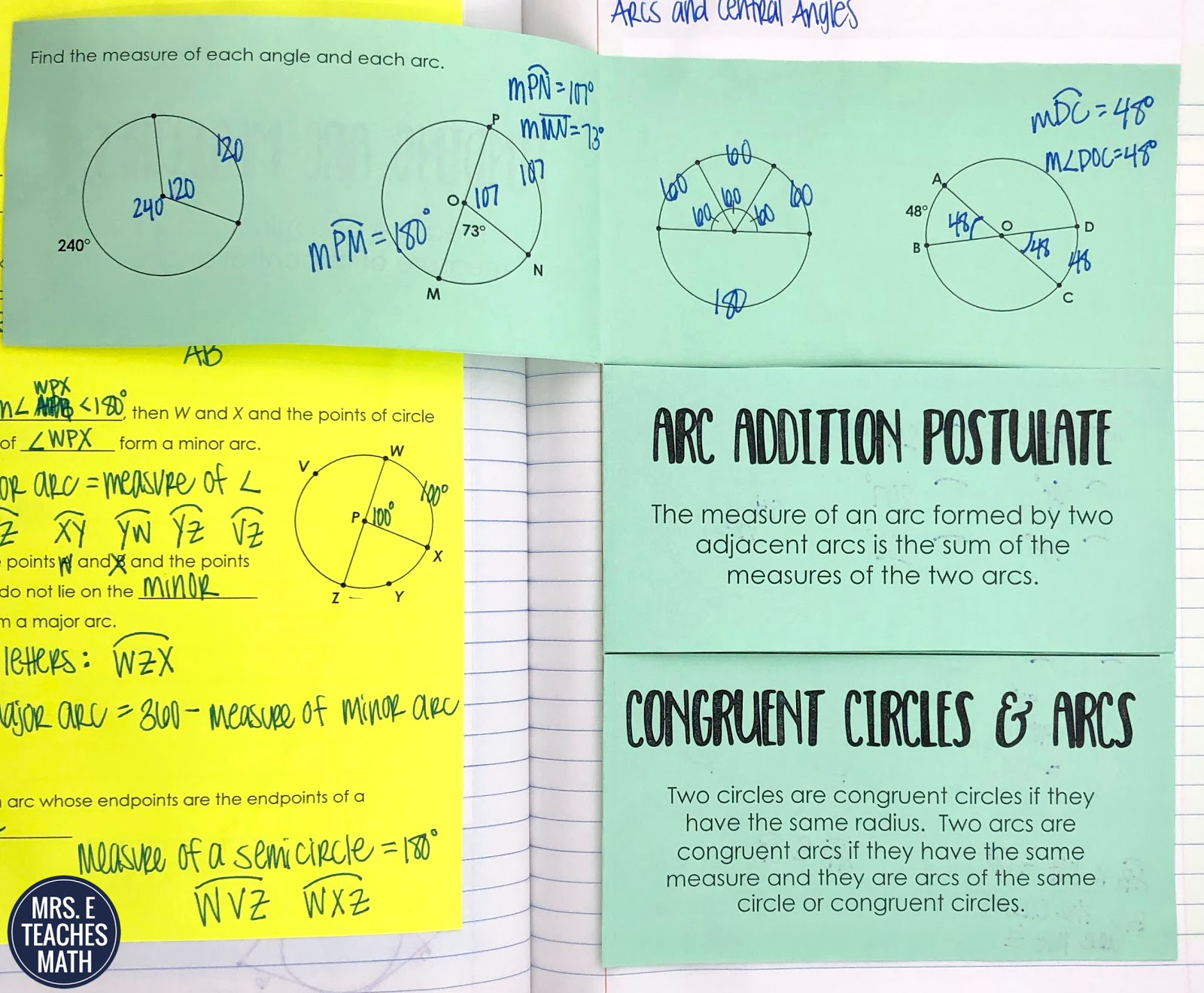 Angles And Arcs In Circles Inb Pages