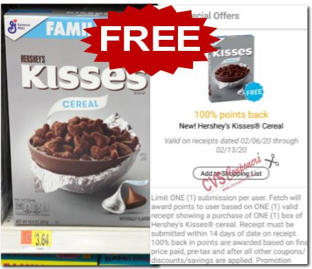free General Mills Hershey's Kisses Cereal
