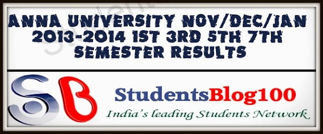ANNA UNIVERSITY NOV-DEC 2013 EXAM RESULTS & JAN 2014 FIRST SEM RESULTS | UG-PG RESULTS