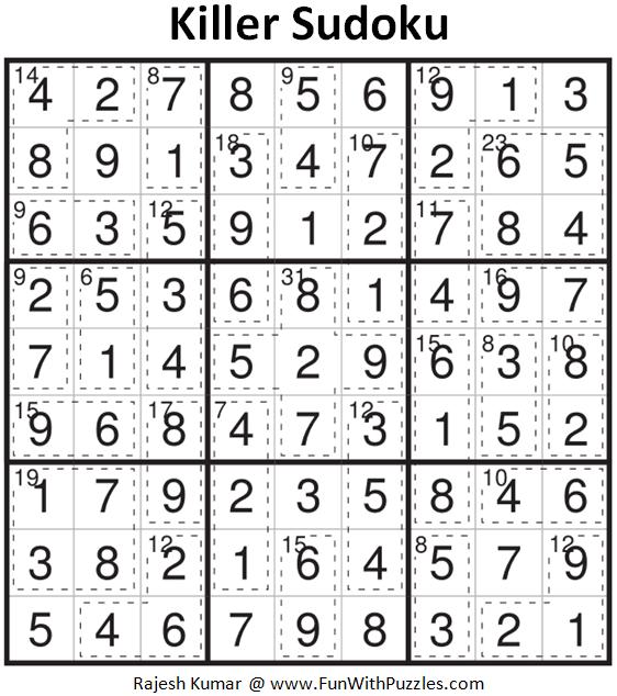 Killer Sudoku Puzzle (Fun With Sudoku #361)-Fun With Puzzles