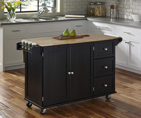 Liberty Black Kitchen Cart with Wood Top by Home Styles