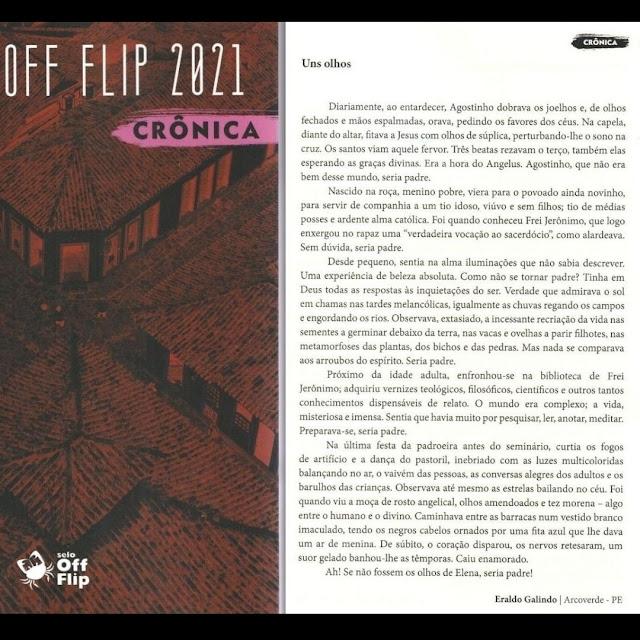 ESCRITOR ERALDO GALINDO TEM CRÔNICA PUBLICADA NA ANTOLOGIA OFF FLIP (Paraty - RJ)