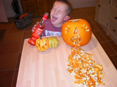 carved pumpkins vomiting