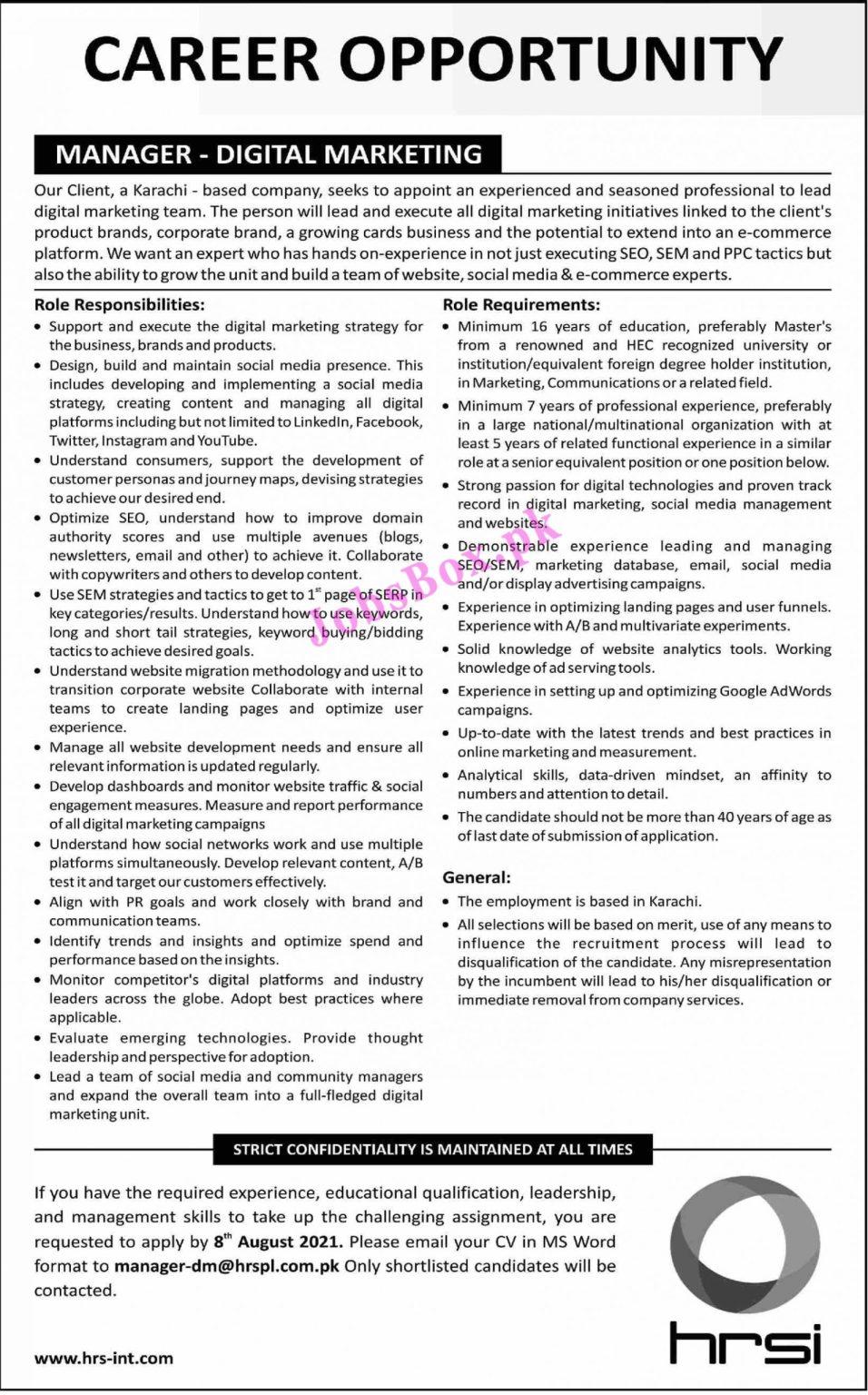 www.hrs-int.com Jobs 2021 - Human Resource Service Provider HRSPL Jobs 2021 in Pakistan