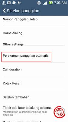 Selanjutnya pilih Perekaman panggilan otomatis