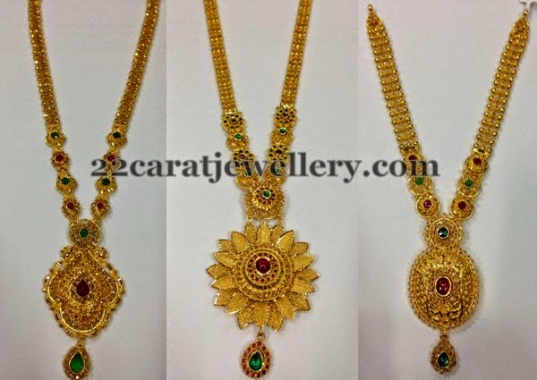 Gold Long Chains Floral Pendants Jewellery Designs