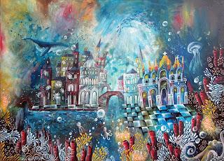 Venise sous l'eau, villes sous-marines, Annapia Sogliani artiste peintre illustratrice, Venezia sottomarina, Annapia Sogliani pittrice illustratrice